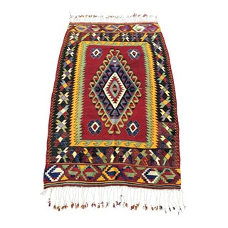 Vintage Handwoven Turkish Kilim Rug - 3'4''x5'3''