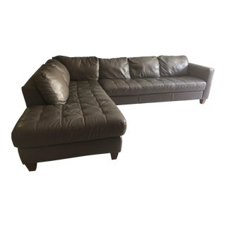 Grey Genuine Leather Sectional