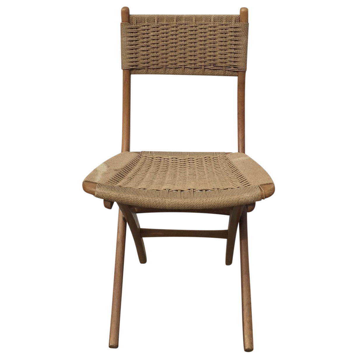 Mid century modern folding rope chair chairish