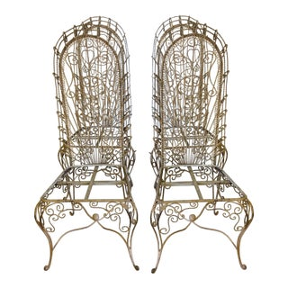 French Victorian Wire Garden Chairs - Set of 4