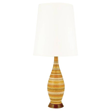 Image of Pair of Striped Salt Glazed Pottery Table Lamps