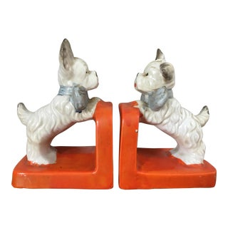 Vintage Ceramic Terrier Bookends - Pair