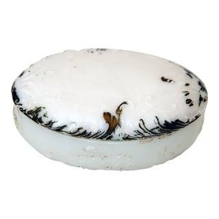 Oval Milk Glass Trinket Box