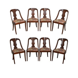 Empire Style Set of 8 Solid Mahogany Dining Chairs by Lambert