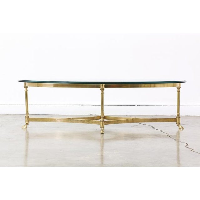 Vintage Brass and Steel Hoofed Foot Coffee Table - Image 4 of 6