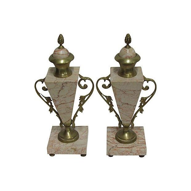 Antique French Bronze Marble Cassolettes - A Pair - Image 2 of 6