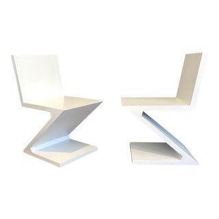 Gerrit Rietveld Style Zig Zag Chairs - A Pair
