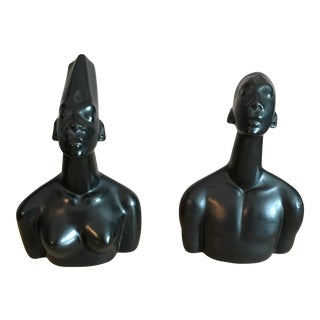 Mid-Century Modern African Female Male Busts - A Pair