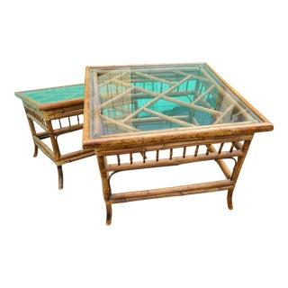 Vintage Mersman Rattan Chippendale End Tables - a Pair