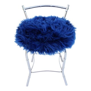 Faux Bamboo & Navy Faux Fur Vanity Stool