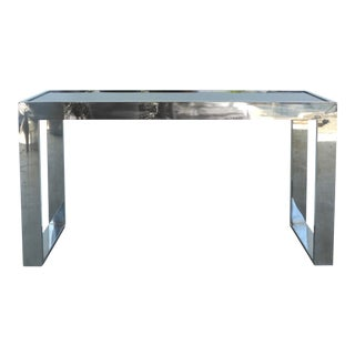 Milo Baughman-Style Mirrored & Chrome Console