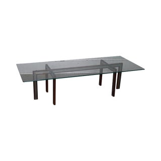 Henning Korch Rosewood & Aluminum Danish Modern Long Glass Top Coffee Table