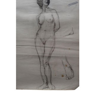 1920's Female Figure Study in Charcoal