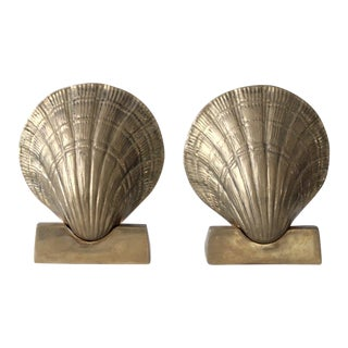 Mid-Century Brass Seashell Bookends - A Pair