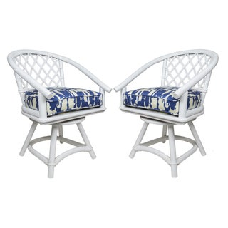 Ficks Reed White Rattan Swivel Chairs - a Pair