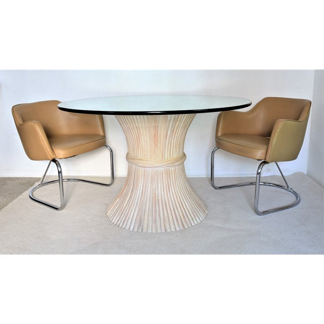McGuire Wheat Sheaf Bamboo Rattan Dining Table With Thick Round Glass Top Organic Mid Century Modern MCM Millennial - Image 10 of 11