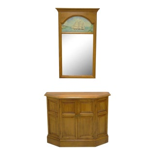 Conant Ball Maple Wood Hall Console & Wall Mirror - A Pair