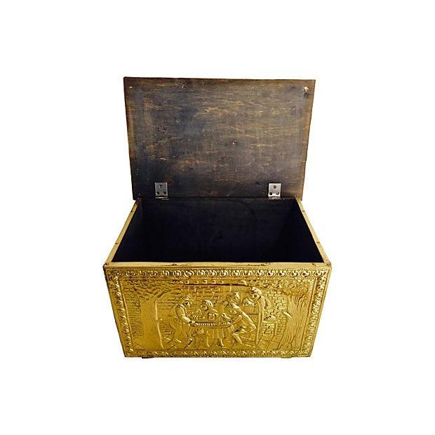 Vintage English Gilded Brass Fireplace Wood Box - Image 4 of 6