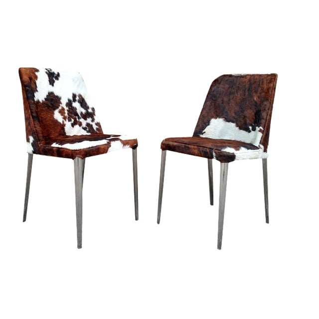 Image of Gambrell Renard Cowhide Chairs - A Pair