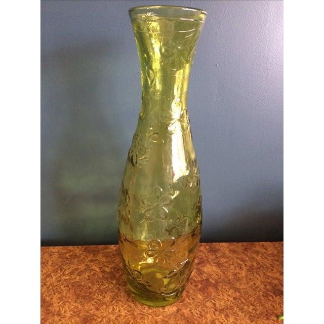 Green Glass Flower Vase - Image 2 of 10
