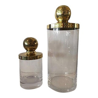 Glass Container With Brass Lids - A Pair
