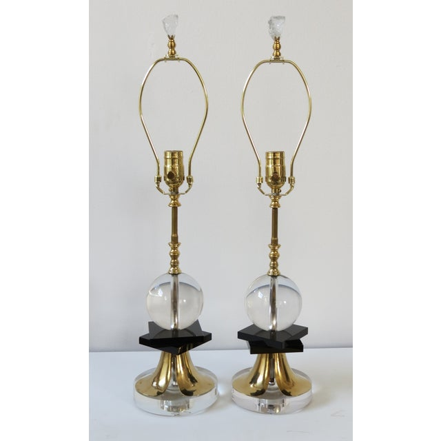 1970's Brass and Black Glass Lamps - Pair - Image 2 of 5