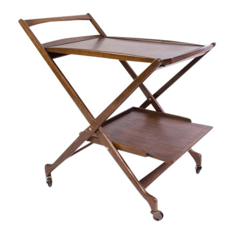 Danish Folding Walnut Bar Cart with Serving Tray - Image 1 of 10