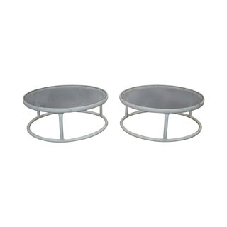 Brown Jordan Round Aluminum/Glass Side Tables (B)