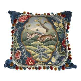 Antique Needlepoint Tapestry Pillow of Dogs