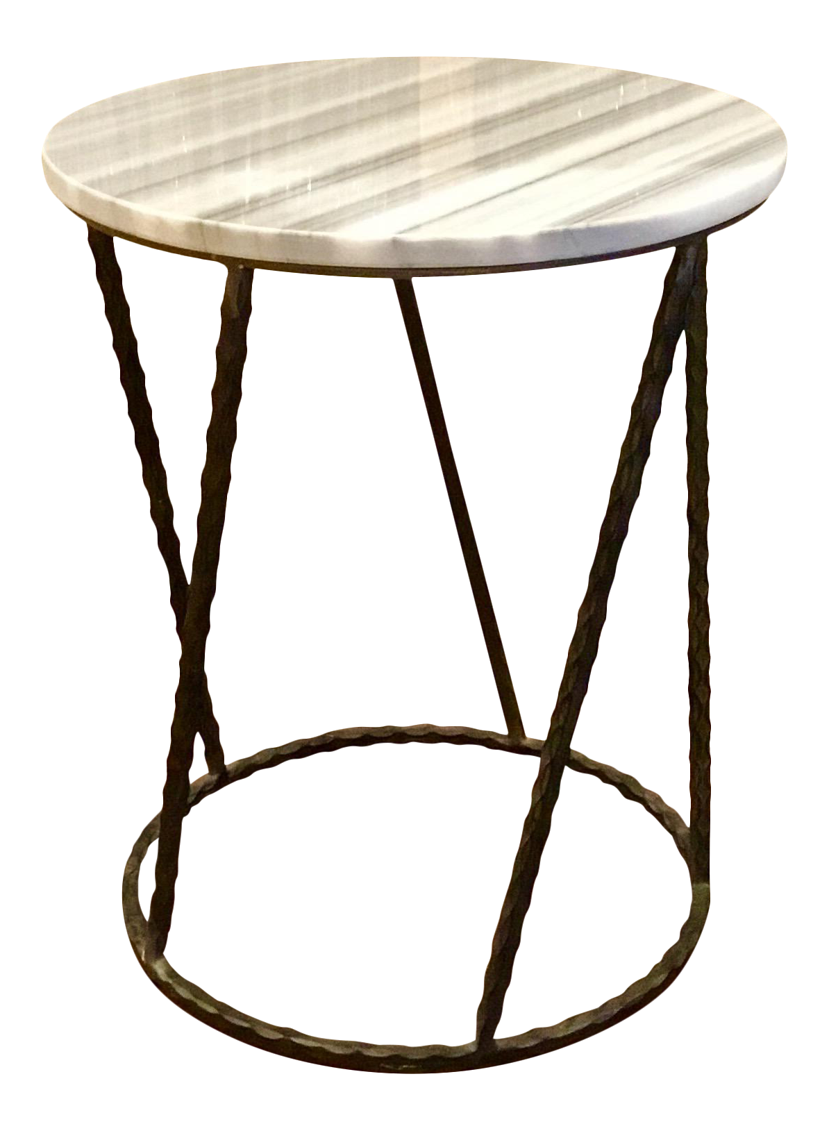 Modern Gabby Gray And White Marble Top Side Table