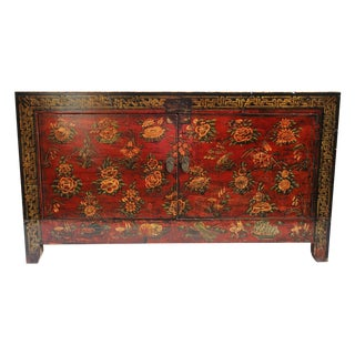 Red Mongolian Painted Cabinet
