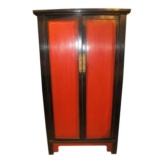 Antique Chinese Red and Black Armoire