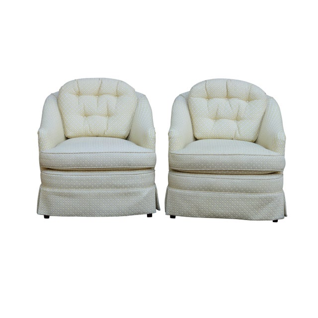 Mid Century Style Cream Club Chairs, A Pair - Image 9 of 9