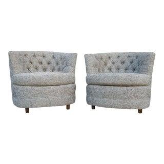 Vintage Tweed Reupholstered Chairs - A Pair