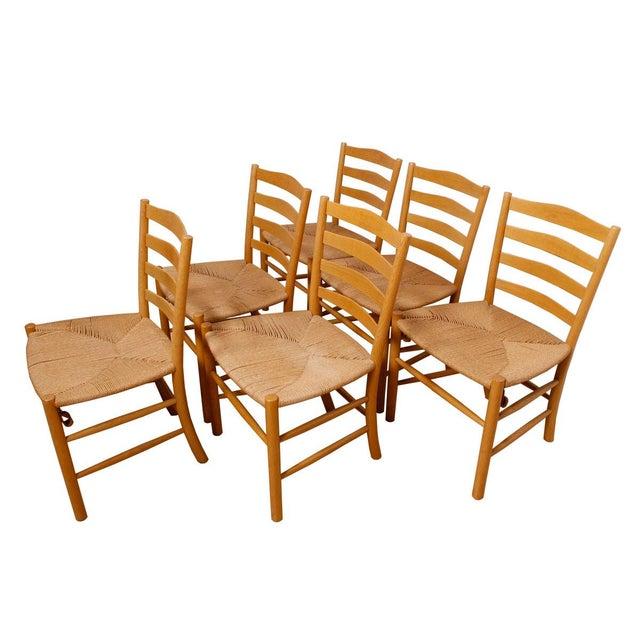 Kaare Klint's 'Church' Chairs with Cord - Set of 6 - Image 1 of 5