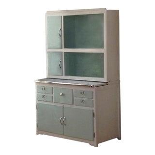 White & Aqua Painted Hoosier Cabinet