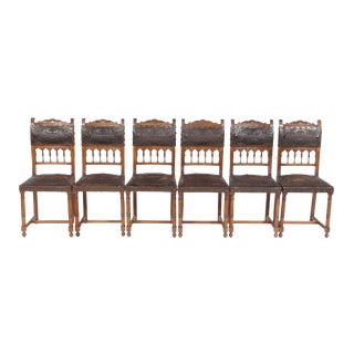 1890s French Leather Brittany Chairs - Set of 6