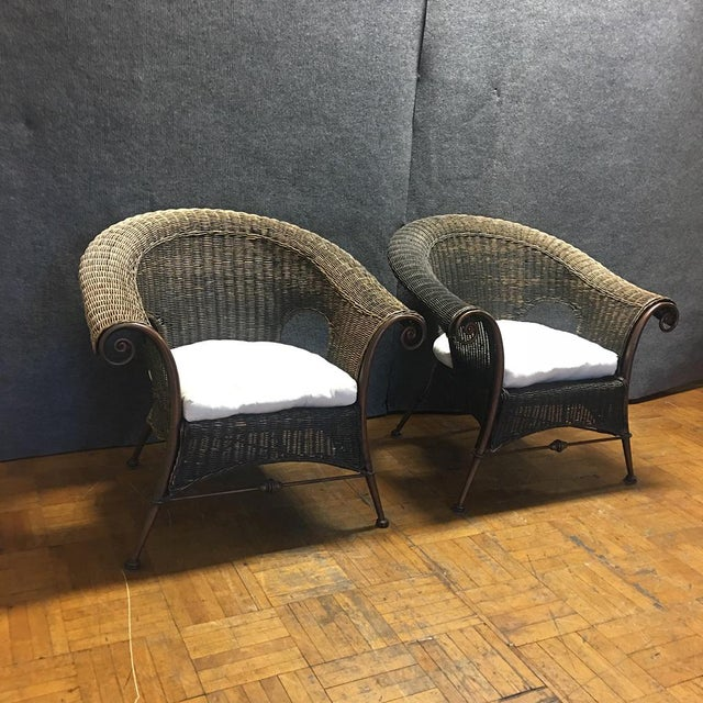 Wood & Iron Outdoor Armchairs W/ Seat Cushions - A Pair - Image 4 of 10
