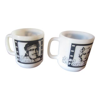 Vintage Hollywood Regency Movie Star Reel Mugs - A Pair