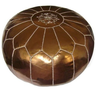 Moroccan Leather Bronze Pouf