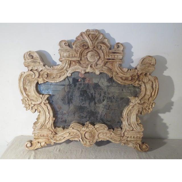 Image of Antique Italian Carved Mirror & Mercury Glass