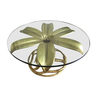 Arthur Court Vintage Gilt Lilly Base Coffee Table