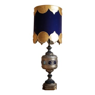 Vintage Hollywood Regency Style Moroccan Metal and Brass Crystal Accent Large Lantern Table Lamp