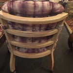 Image of Vintage Lined Wood Armchairs on Casters - A Pair