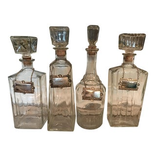 Art Deco Carved Glass Decanters Silver Tags - Set of 4