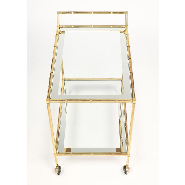 Vintage French Brass Faux Bamboo Bar Cart or Trolley by Maison Baguès - Image 4 of 9