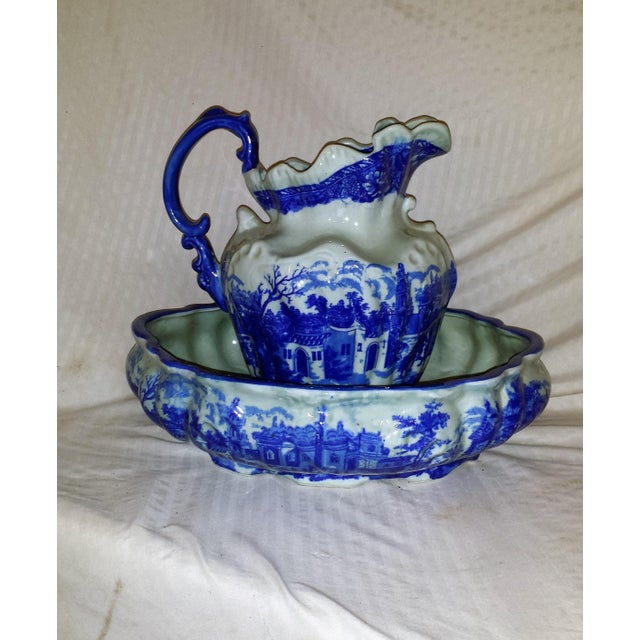 Vintage Chinese Flow Blue Pitcher & Wash Basin - A Pair - Image 2 of 10
