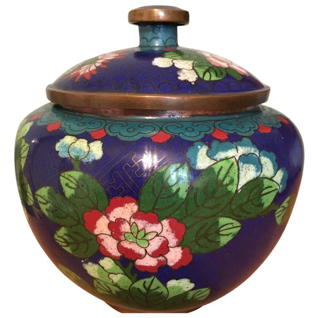 Vintage Cloisonné Bowl With Lid - Image 1 of 11
