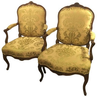 Louis XV Style Fauteuil Chairs - a Pair