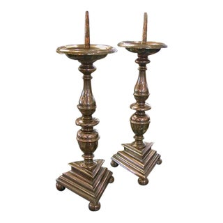 A Substantial Pair of French Baroque Style Bronze Pricket Sticks